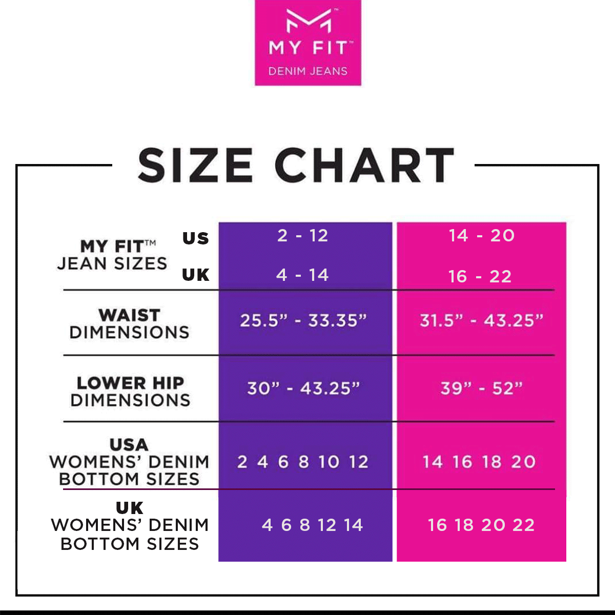 my fit size chart